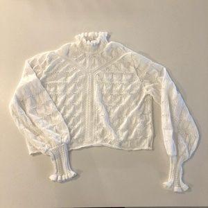 Zara 🤍 White Lace Long Sleeve Turtleneck